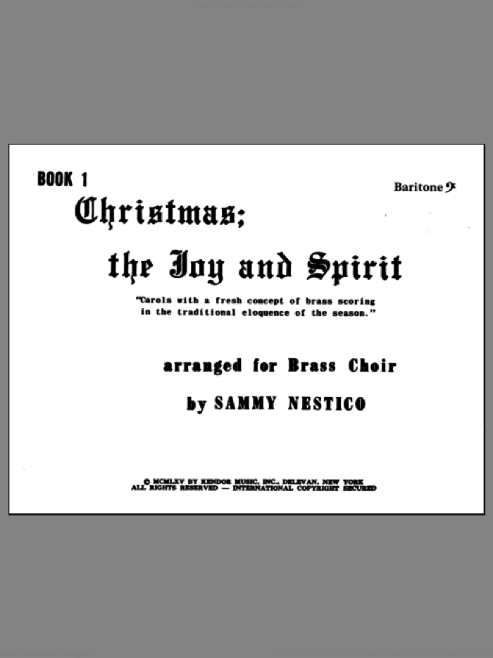 Christmas; The Joy and Spirit - Book 1/Baritone BC sheet music for brass quintet by Nestico, intermediate skill level