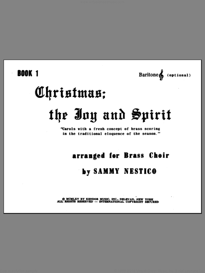 Christmas; The Joy and Spirit - Book 1/Baritone TC (opt.) sheet music for brass quintet by Nestico. Score Image Preview.