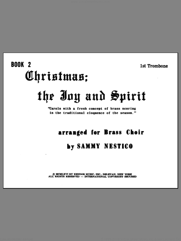 Christmas; The Joy and Spirit - Book 2/1st Trombone sheet music for brass quintet by Nestico, intermediate skill level