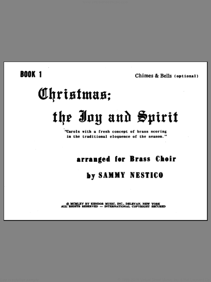 Christmas; The Joy and Spirit- Book 1/Chimes and Bells (opt.) sheet music for brass quintet by Nestico, Christmas carol score, intermediate brass quintet. Score Image Preview.