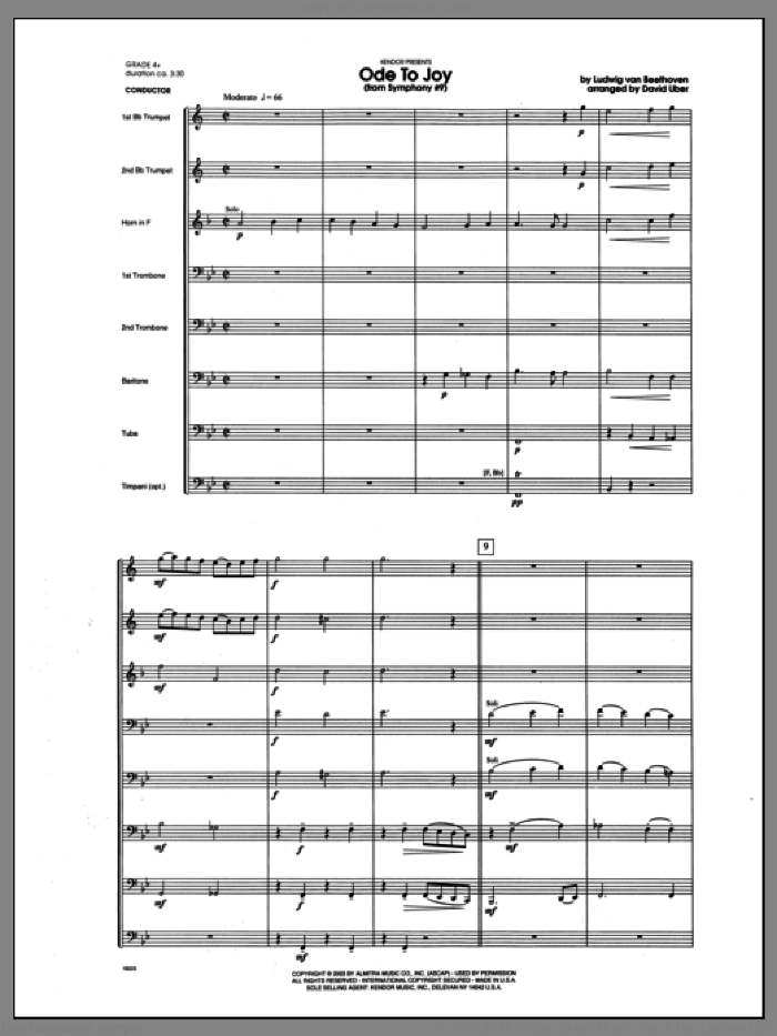 Ode To Joy (From Symphony #9) (COMPLETE) sheet music for brass octet by Ludwig van Beethoven and Uber, classical score, intermediate skill level