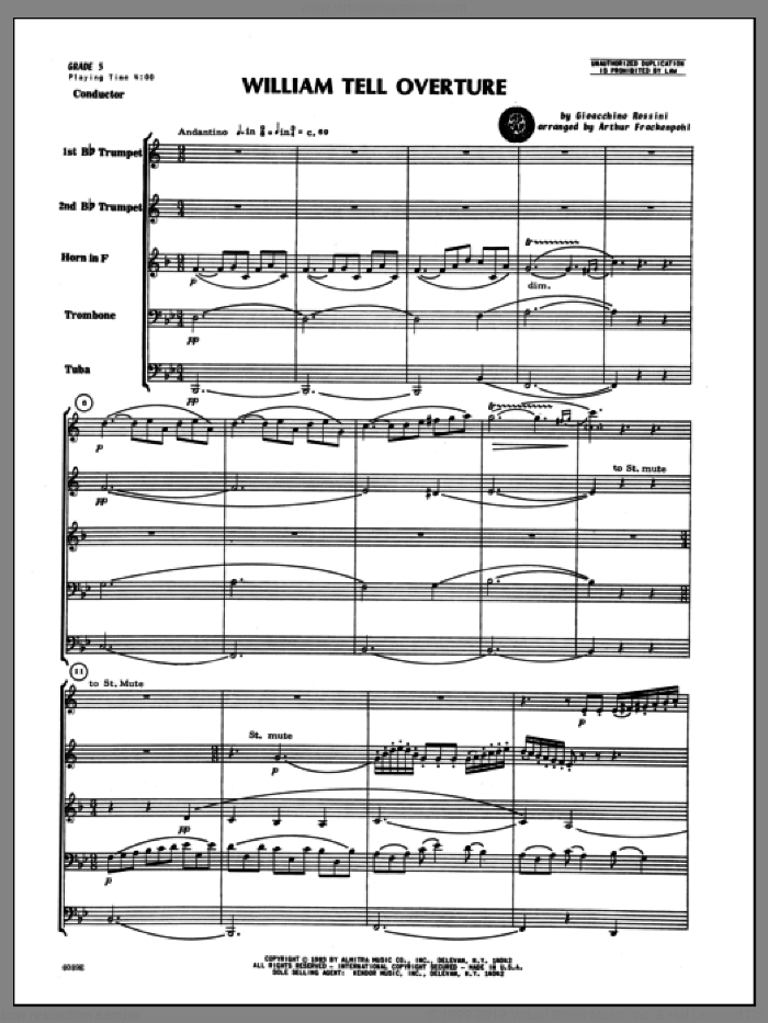 William Tell Overture (COMPLETE) sheet music for brass quintet by Gioacchino Rossini and Arthur Frackenpohl, classical score, intermediate skill level