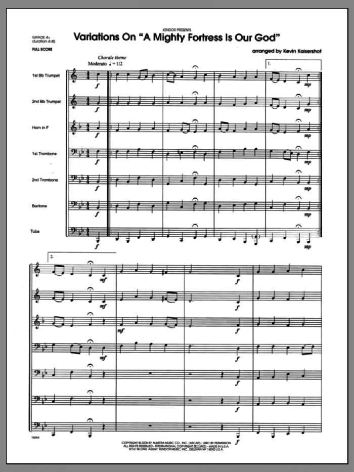 Variations On A Mighty Fortress Is Our God (COMPLETE) sheet music for brass ensemble by Kaisershot, classical score, intermediate. Score Image Preview.