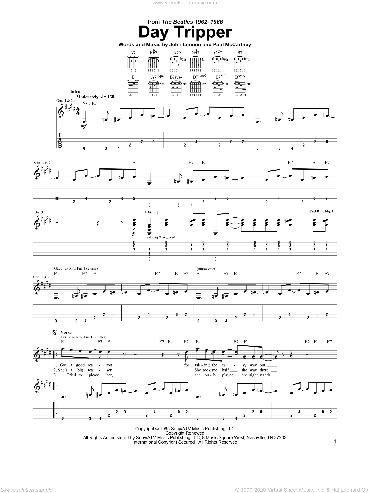 Day Tripper sheet music for guitar (tablature) by The Beatles, John Lennon and Paul McCartney, intermediate guitar (tablature). Score Image Preview.