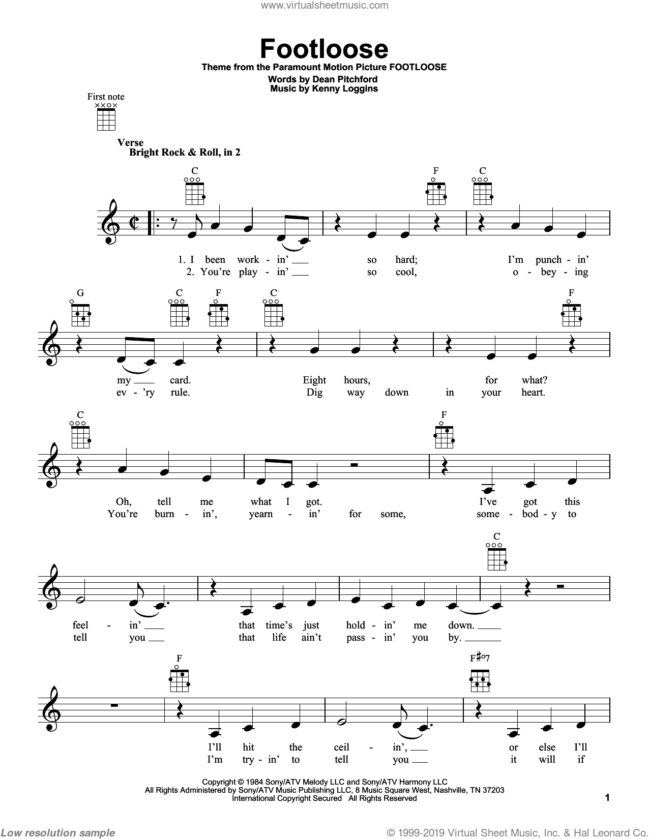 Footloose sheet music for ukulele by Kenny Loggins, intermediate skill level
