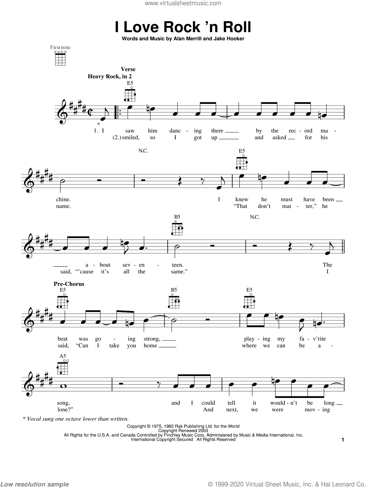I Love Rock 'N Roll sheet music for ukulele by Joan Jett & The Blackhearts. Score Image Preview.