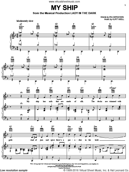 My Ship sheet music for voice, piano or guitar by Ira Gershwin and Kurt Weill. Score Image Preview.