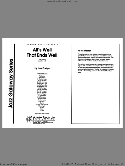 All's Well That Ends Well (COMPLETE) sheet music for jazz band by Phelps
