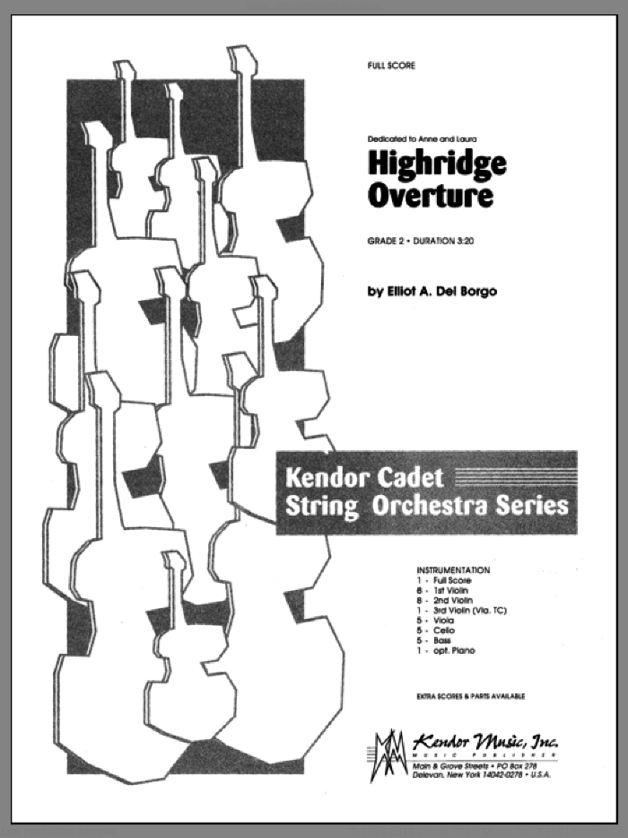Highridge Overture (COMPLETE) sheet music for orchestra by Del Borgo, classical score, intermediate. Score Image Preview.