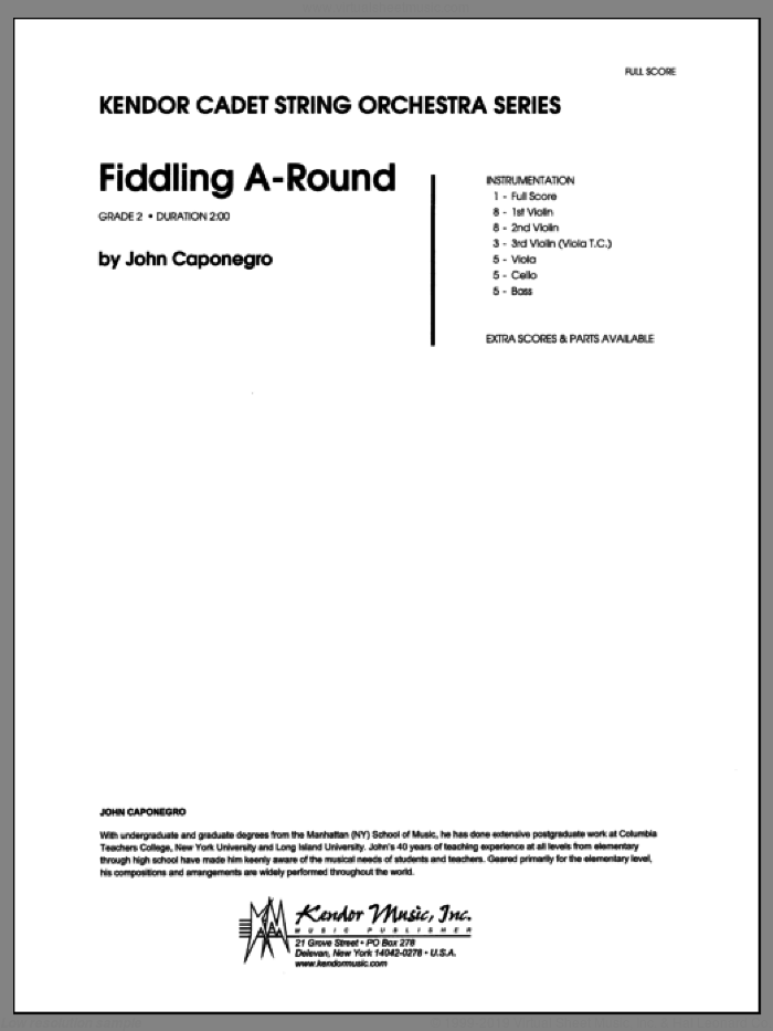 Fiddling A-Round (COMPLETE) sheet music for orchestra by John Caponegro, intermediate skill level