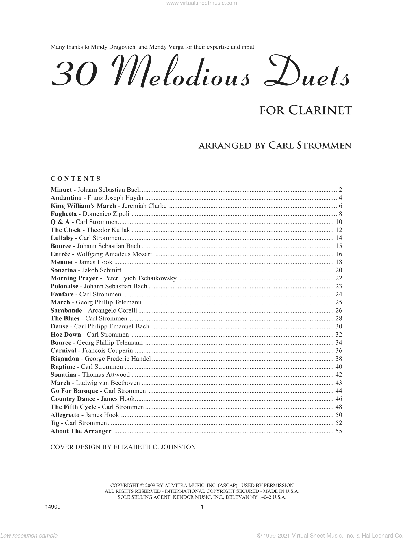 30 Melodious Duets sheet music for two clarinets by Carl Strommen, classical score, intermediate duet. Score Image Preview.