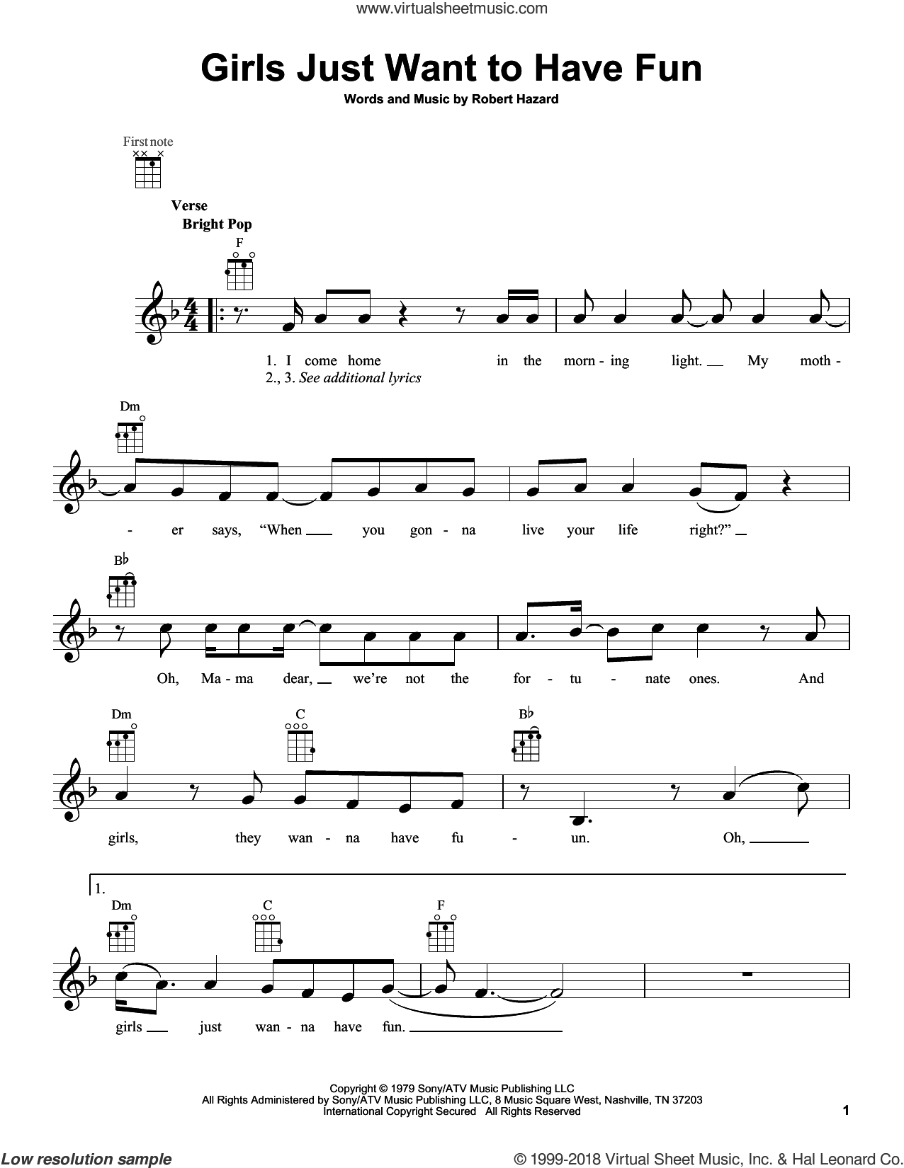 Girls Just Want To Have Fun sheet music for ukulele by Cyndi Lauper, intermediate. Score Image Preview.
