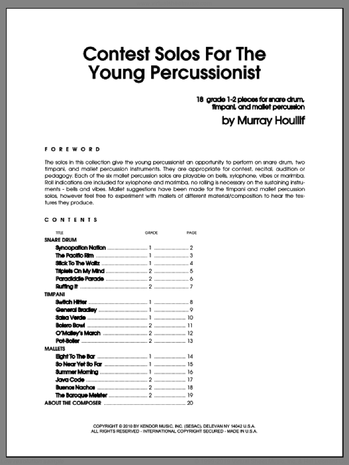 Contest Solos For The Young Percussionist sheet music for percussions by Houllif, classical score, intermediate. Score Image Preview.
