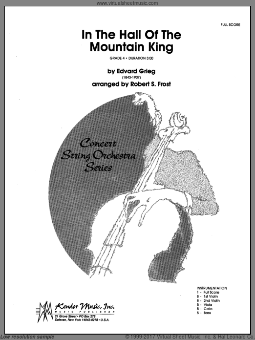 In the Hall of the Mountain King (COMPLETE) sheet music for orchestra by Edward Grieg