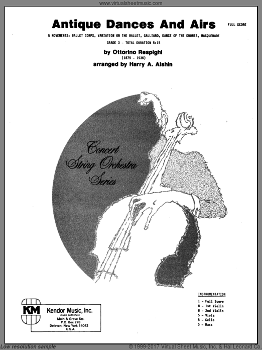 Antique Dances And Airs (COMPLETE) sheet music for orchestra by Respighi