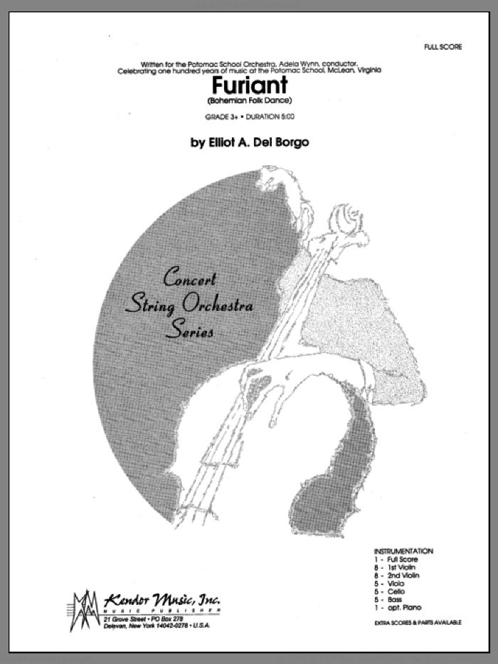 Furiant (Bohemian Folk Dance) sheet music for orchestra (full score) by Del Borgo