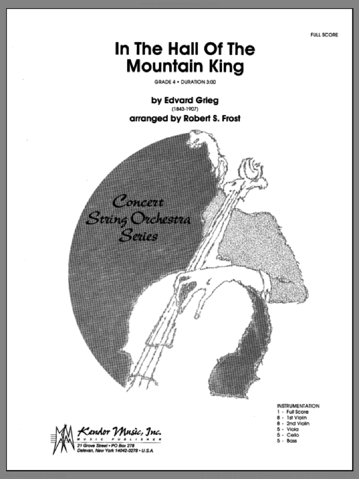 In the Hall of the Mountain King (COMPLETE) sheet music for orchestra by Edvard Grieg and Robert S. Frost, classical score, intermediate skill level