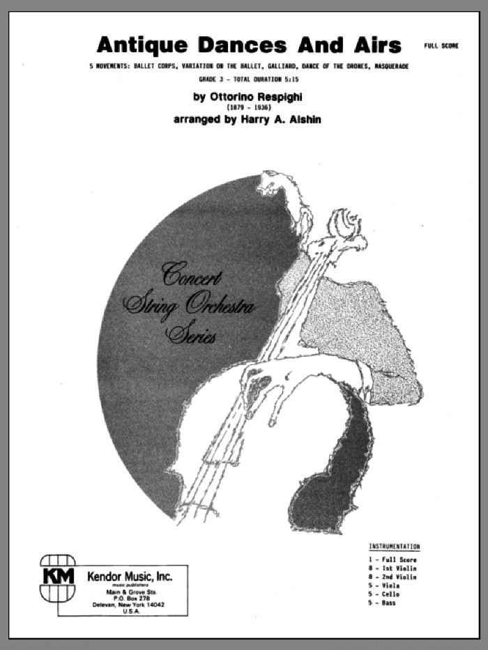 Antique Dances And Airs (COMPLETE) sheet music for orchestra by Ottorino Respighi and Alshin, classical score, intermediate skill level