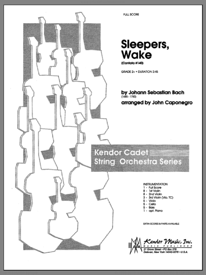 Sleepers, Wake (Cantata #140) (COMPLETE) sheet music for orchestra by Johann Sebastian Bach and John Caponegro, classical score, intermediate skill level