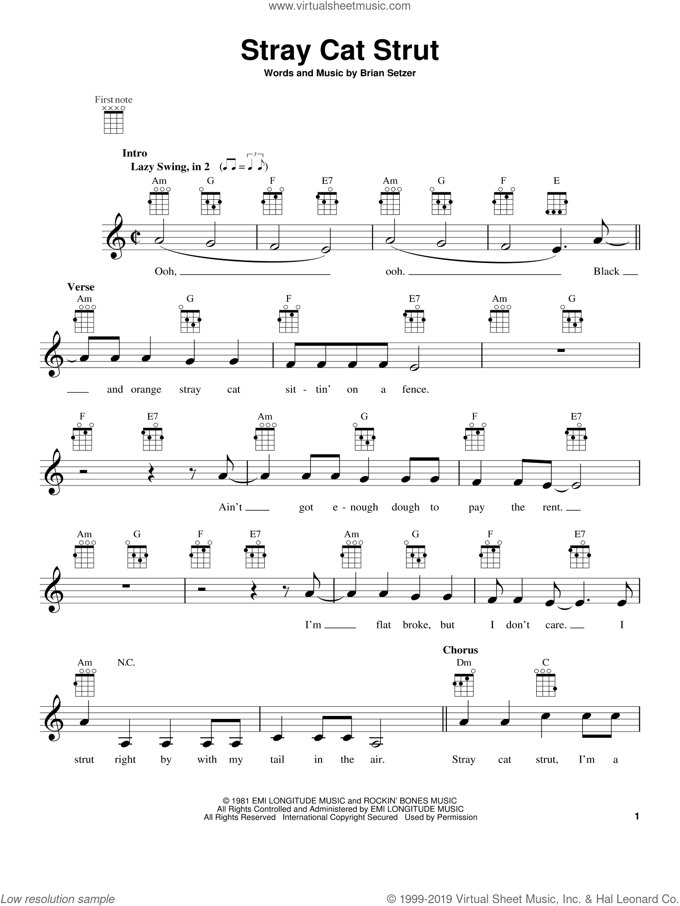 Stray Cat Strut sheet music for ukulele by Stray Cats. Score Image Preview.