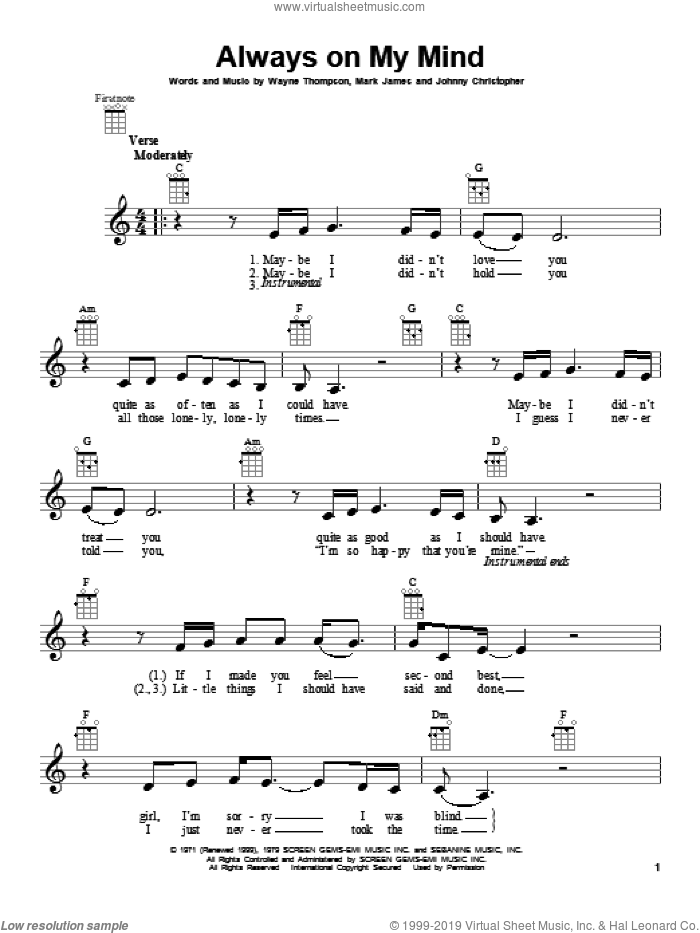 Always On My Mind sheet music for ukulele by Willie Nelson. Score Image Preview.