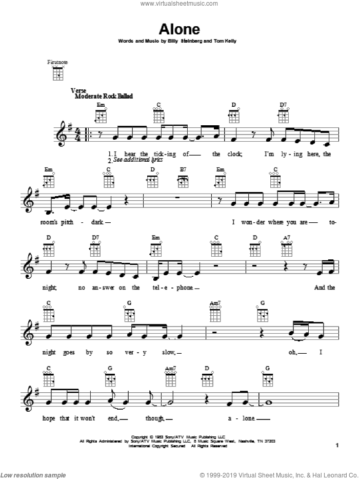 Alone sheet music for ukulele by Heart