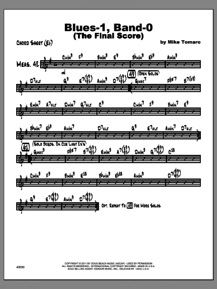Blues-1, Band-0 (The Final Score) sheet music for jazz band (chord sheet Eb) by Tomaro