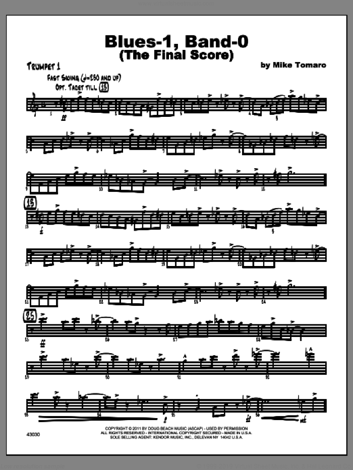 Blues-1, Band-0 (The Final Score) sheet music for jazz band (trumpet 1) by Tomaro