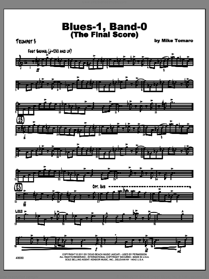 Blues-1, Band-0 (The Final Score) sheet music for jazz band (trumpet 3) by Tomaro
