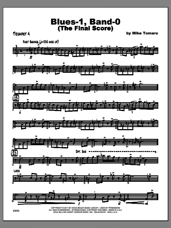 Blues-1, Band-0 (The Final Score) sheet music for jazz band (trumpet 4) by Tomaro