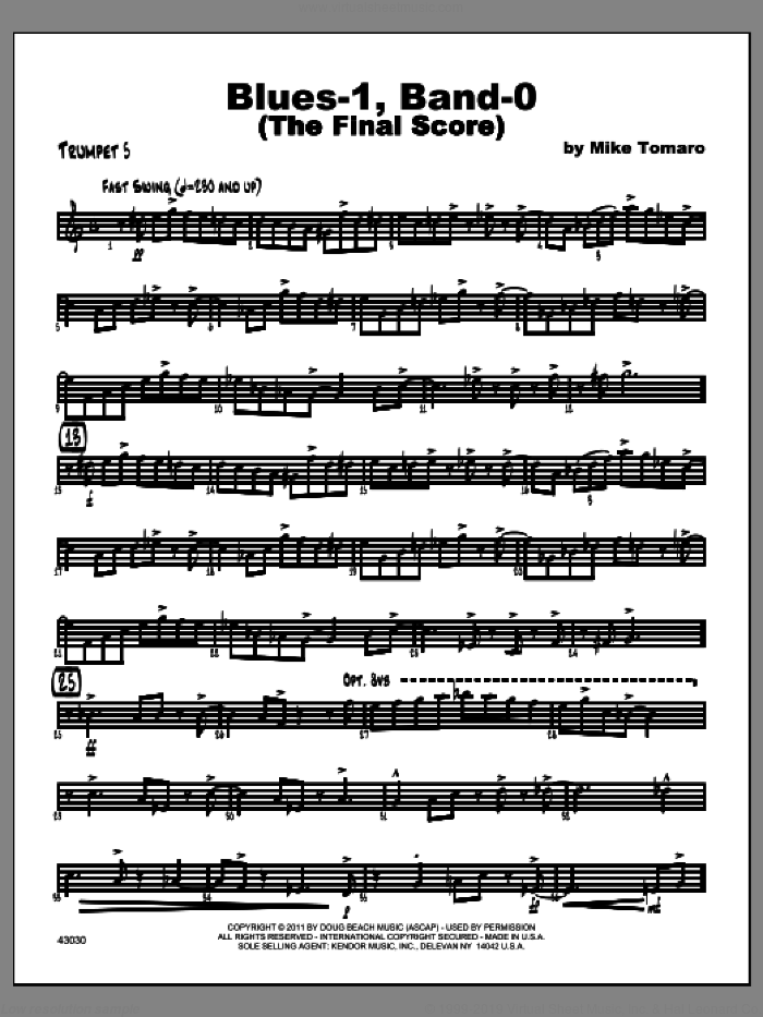 Blues-1, Band-0 (The Final Score) sheet music for jazz band (trumpet 5) by Tomaro