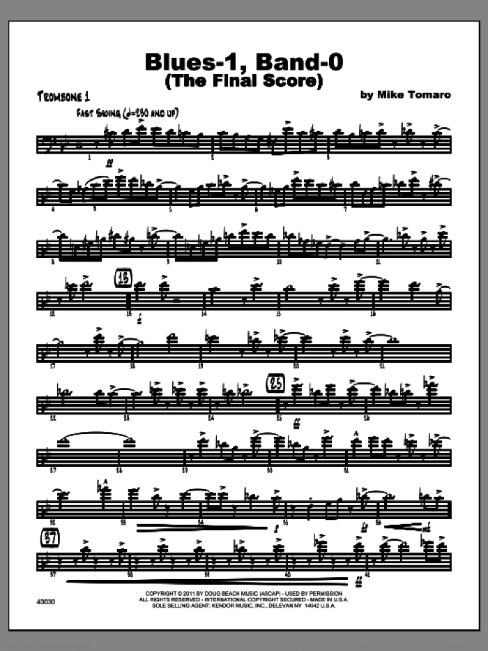 Blues-1, Band-0 (The Final Score) sheet music for jazz band (trombone 1) by Tomaro