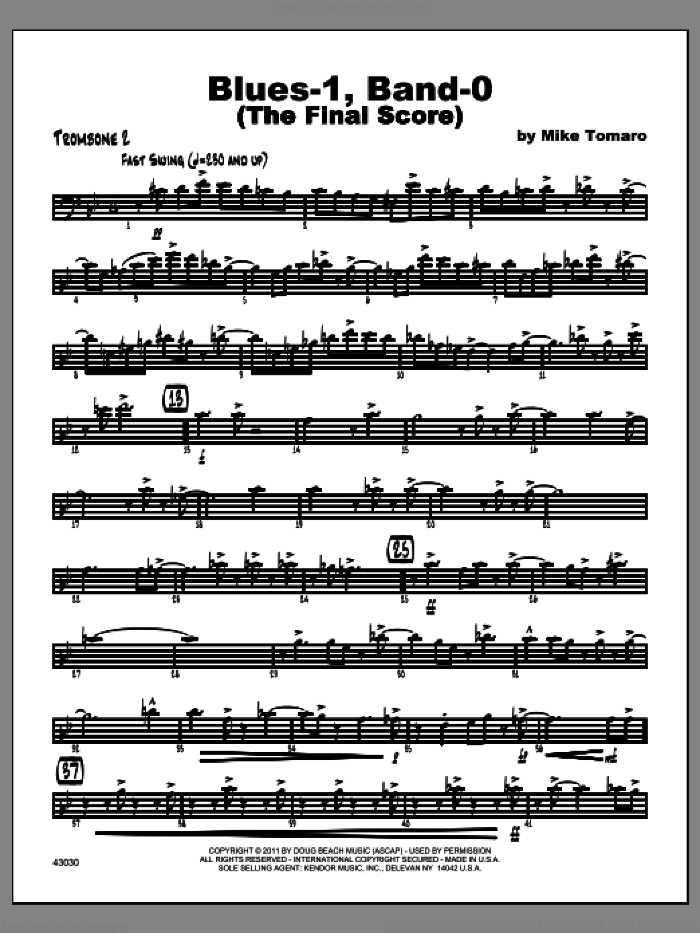 Blues-1, Band-0 (The Final Score) sheet music for jazz band (trombone 2) by Tomaro