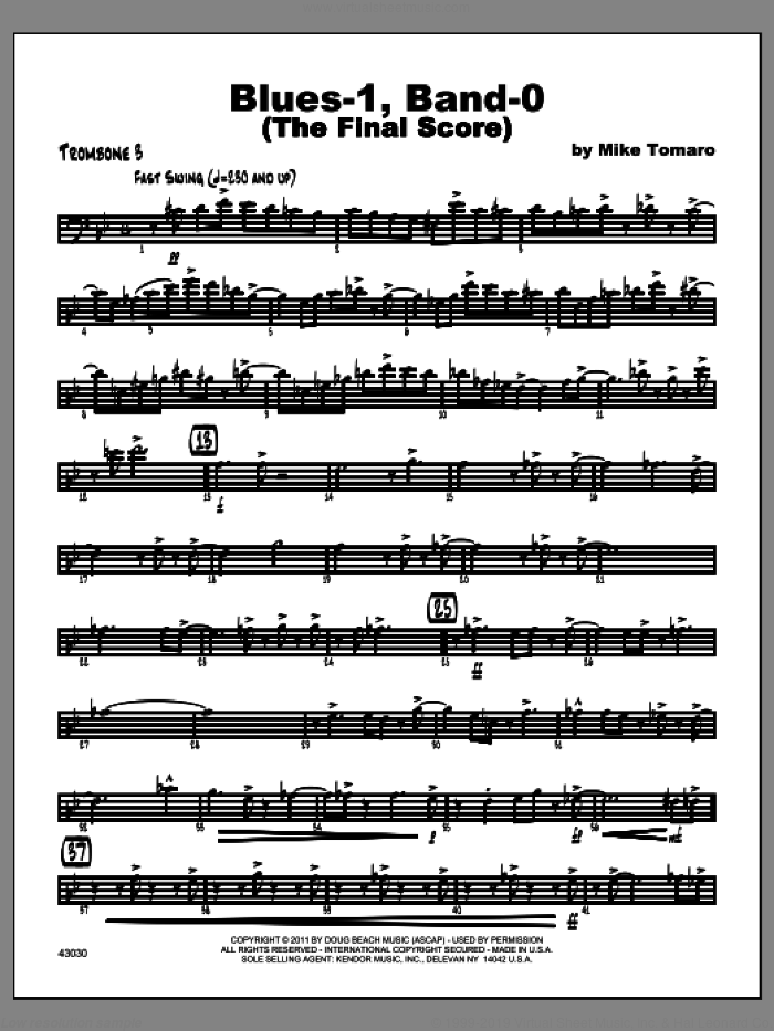 Blues-1, Band-0 (The Final Score) sheet music for jazz band (trombone 3) by Tomaro