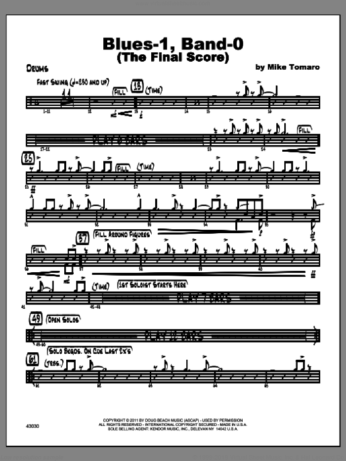 Blues-1, Band-0 (The Final Score) sheet music for jazz band (drums) by Tomaro