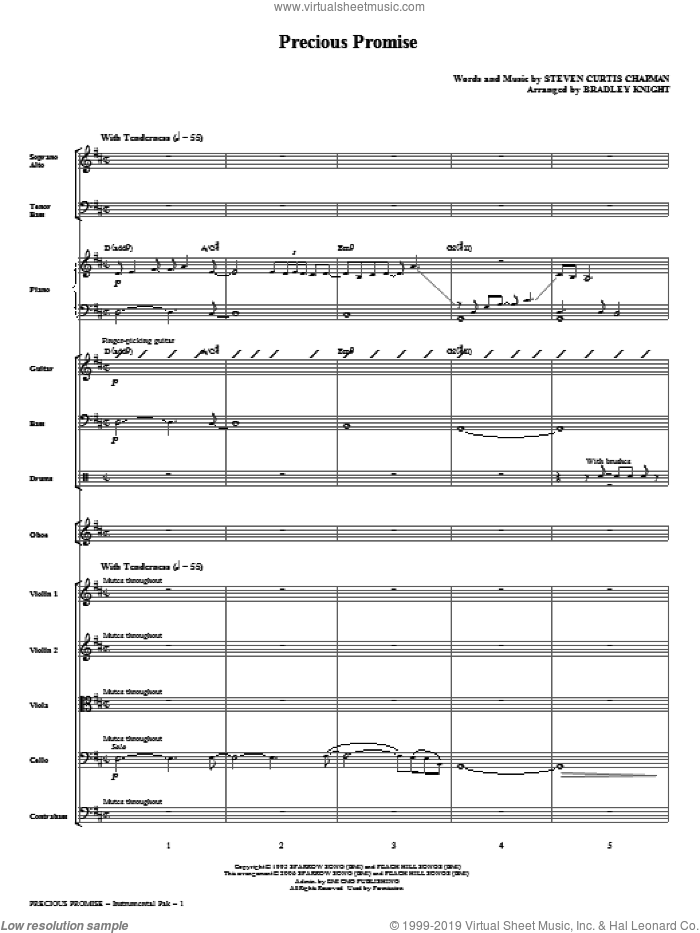 Precious Promise (complete set of parts) sheet music for orchestra/band (Special) by Bradley Knight and Steven Curtis Chapman, intermediate skill level