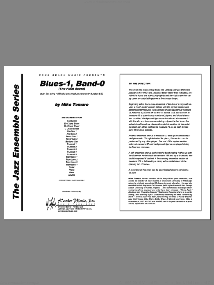 Blues-1, Band-0 (The Final Score) (COMPLETE) sheet music for jazz band by Tomaro, intermediate. Score Image Preview.