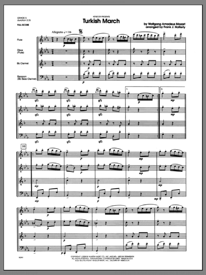 Turkish March (COMPLETE) sheet music for wind quintet by Wolfgang Amadeus Mozart and Halferty, classical score, intermediate. Score Image Preview.