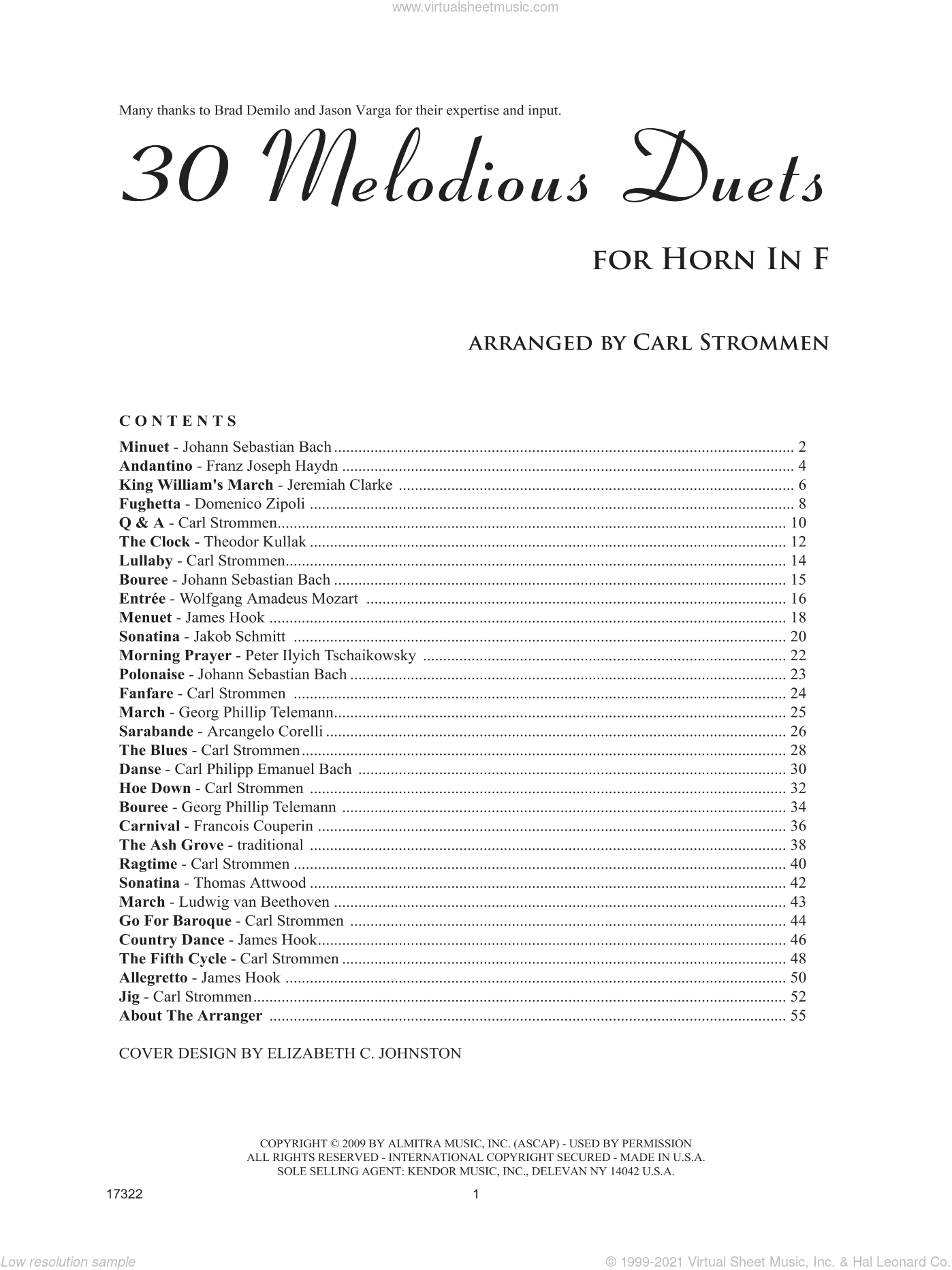 30 Melodious Duets sheet music for two horns by Carl Strommen, classical score, intermediate duet
