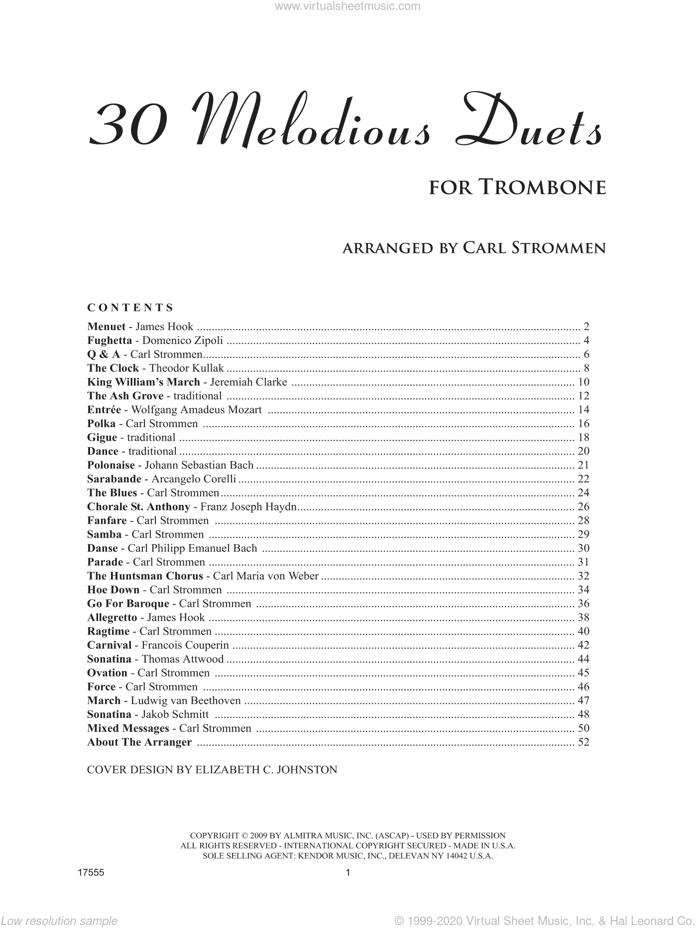 30 Melodious Duets sheet music for two trombones by Carl Strommen. Score Image Preview.