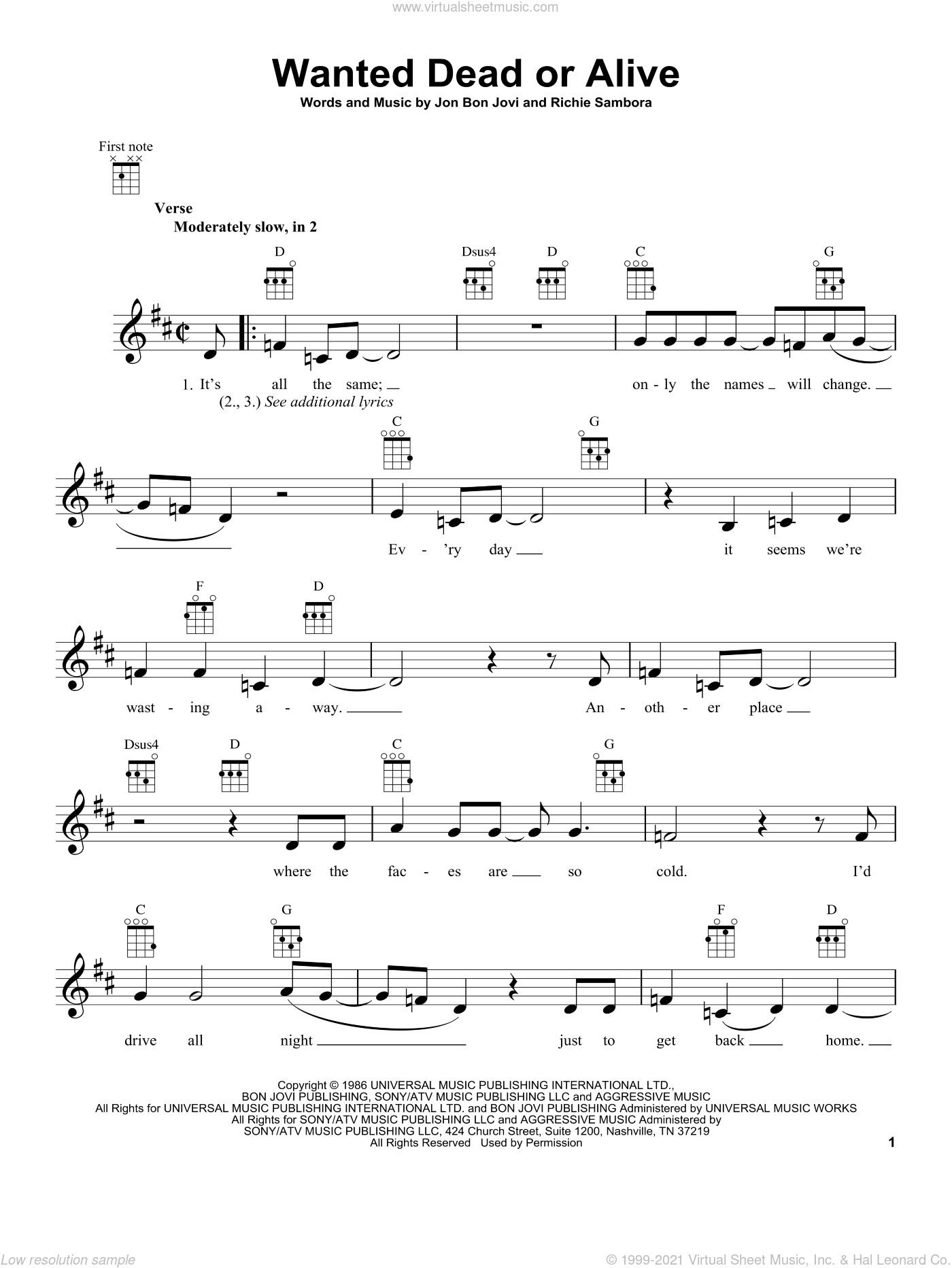 Wanted Dead Or Alive sheet music for ukulele by Bon Jovi, intermediate skill level