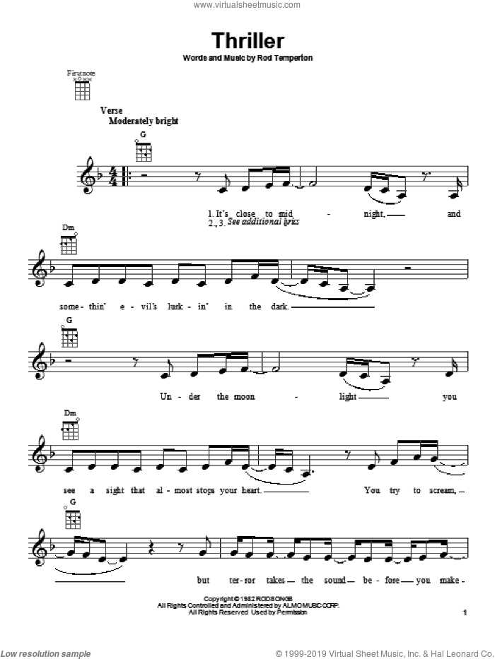 Thriller sheet music for ukulele by Michael Jackson. Score Image Preview.