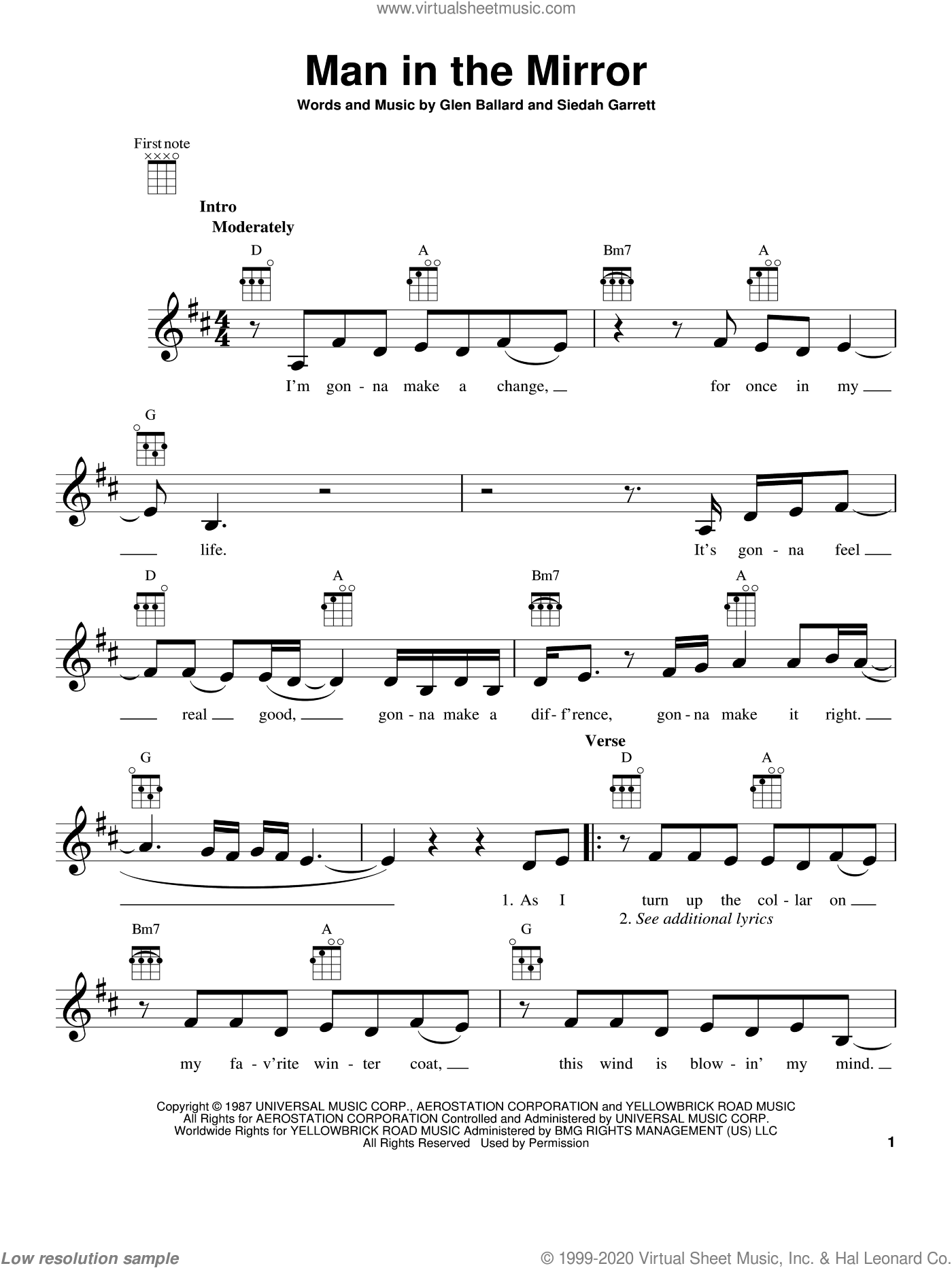 Man In The Mirror sheet music for ukulele by Michael Jackson. Score Image Preview.