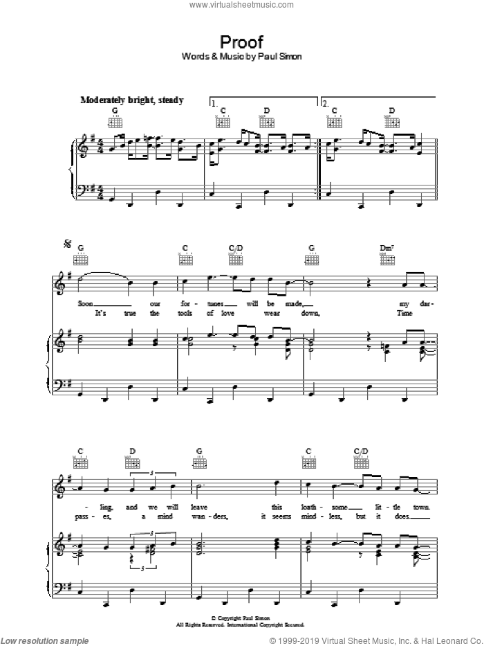 Proof sheet music for voice, piano or guitar by Paul Simon. Score Image Preview.