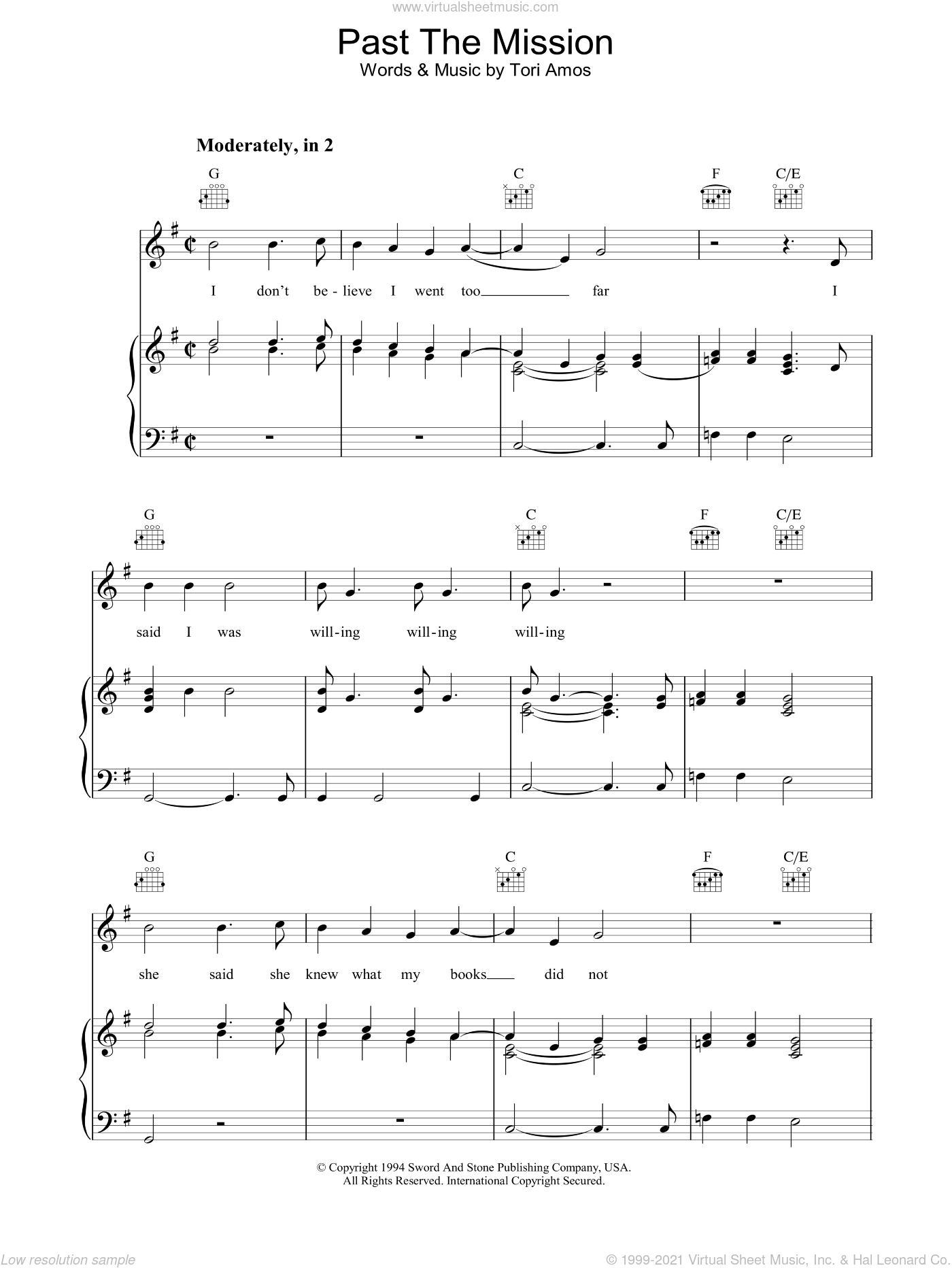 Past The Mission sheet music for voice, piano or guitar by Tori Amos. Score Image Preview.