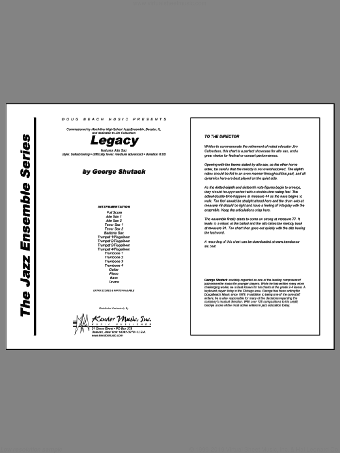 Legacy (COMPLETE) sheet music for jazz band by Shutack, intermediate jazz band. Score Image Preview.