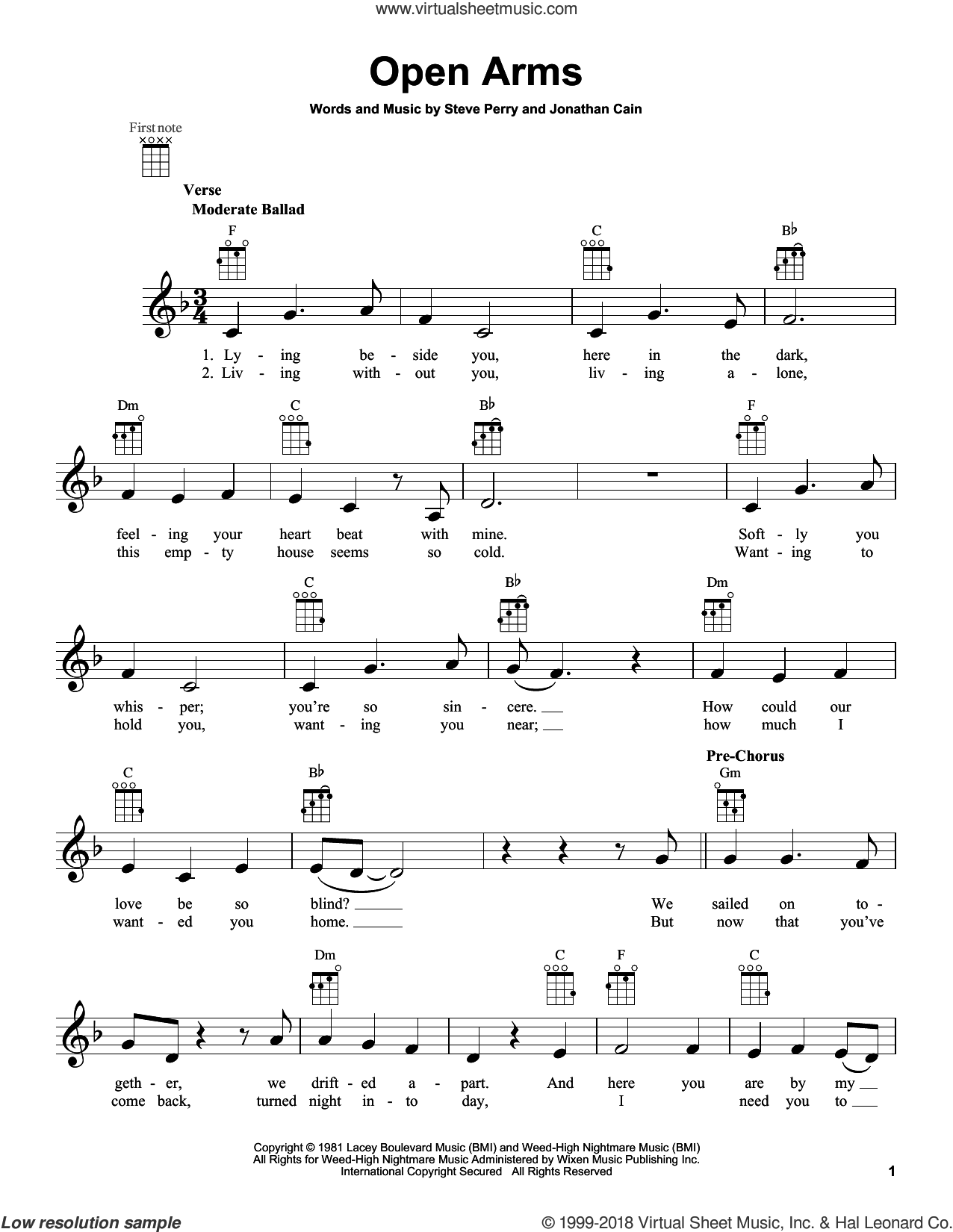 Open Arms sheet music for ukulele by Journey, intermediate skill level