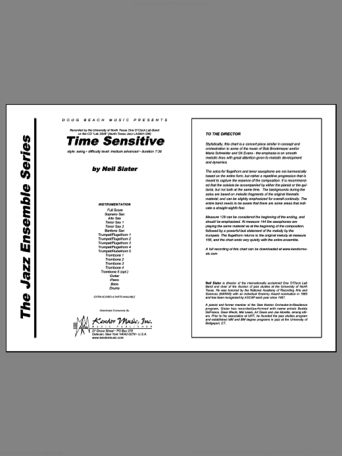 Time Sensitive (COMPLETE) sheet music for jazz band by Slater, intermediate skill level