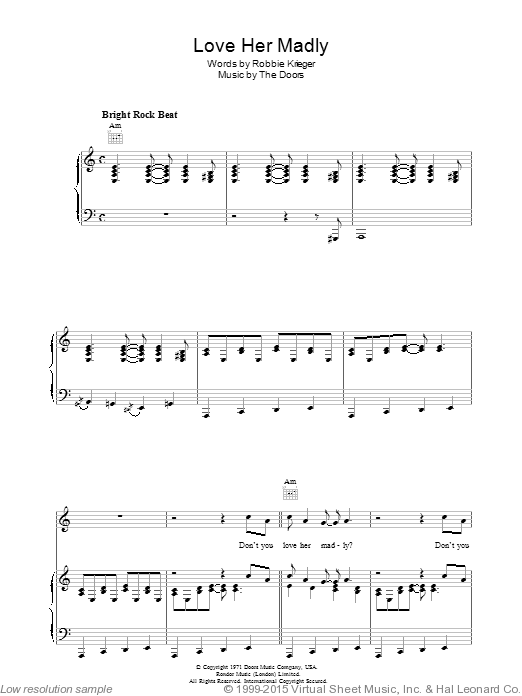 Love Her Madly sheet music for voice, piano or guitar by Robbie Krieger