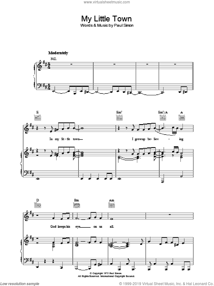 My Little Town sheet music for voice, piano or guitar by Paul Simon, intermediate voice, piano or guitar. Score Image Preview.